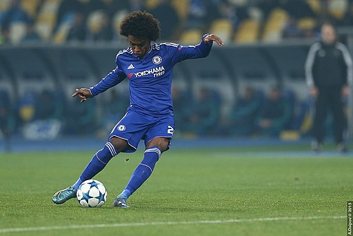 Chelsea's Willian scored the opener for Chelsea at Stamford Bridge in the first leg, before Lionel Messi hit back