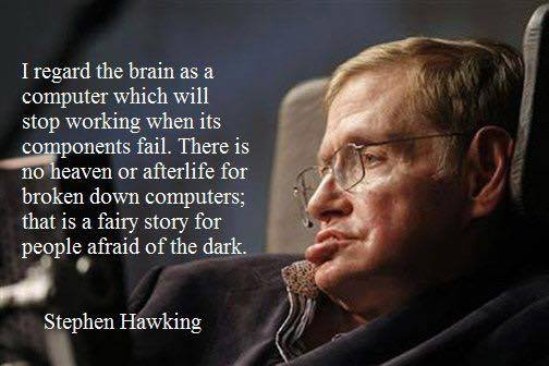 I regard the brain as a computer which will stop working when its components fail- Stephen Hawking